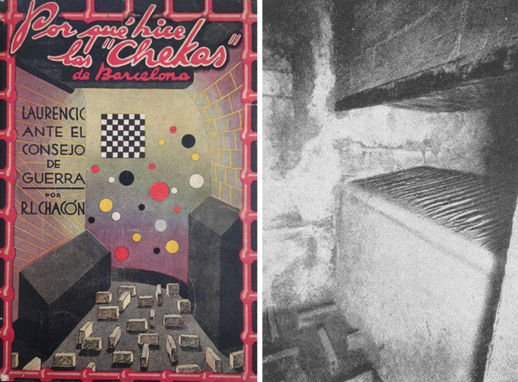 چپ: جلد کتابی از R.L. Chacón؛ راست: تصویر یکی از سلول ها در بارسلونا؛ منبع: Hidden Persuaders