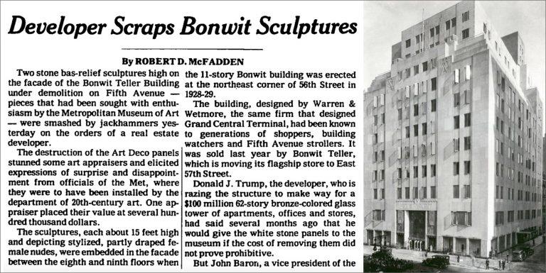 چپ: نیویورک تایمز, 6 ژوئن 1980 راست: بونویت تلر, 1930