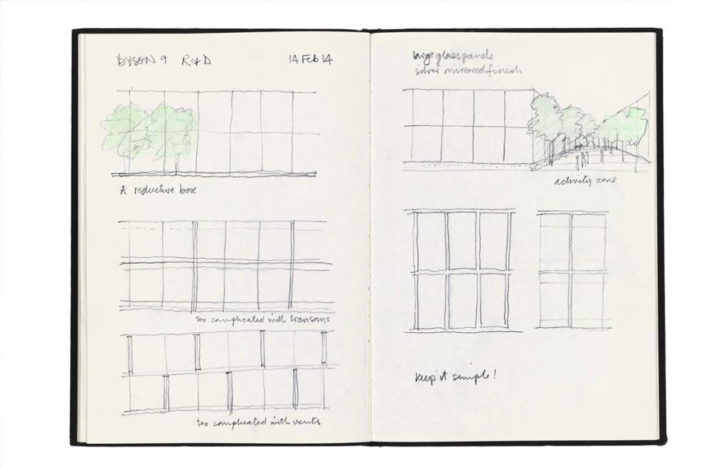 """پردیس دایسون در مالمزبوری این پردیس در طول 20 سال با همکاری شرکت طراحی و ساخت سر جیمز دایسون توسعه ساختهشده است. اسکیسهای اولیه آن در دفترچه اسکیس سال 1994 من، ایده سقف مواجی که بر روی درختان کناره شهر تاریخی ویلتشیر در مالمزبوری شناوراست، را به همراه جزییات غرفههای ورودی با طراحی مهندس تونی هانت نشان میدهد. دفترچه اسکیس دیگری، طرح جامع یک سایت توسعهیافته، اسکیس کانسپت ساختمان «D9» طراحی، پژوهش و توسعه پوشیده که اخیراً تکمیل یافته و با صفحات بزرگ شیشه رفلکس 3 در 5 متر پوشیده شده است، نشان میدهد. در کنار این اسکیس یادداشتی آمده که """"سادگی را حفظ کن"""" و نیز عکسهایی از یک بنای مینیمال با نمای شیشهای که بهاستثنای پلههای فرار ظریف لولهای که در گوشههای بنا تعبیهشدهاند، عاری از هرگونه تزیینات است. بازتاب پلهها و منظرهی پیرامونی به زیبایی به نماهای شیشهای زندگی میبخشد. در کنار ساختمان D9 کافه « Lightning» با ظرفیت پذیرایی از هزار نفر در روز قرار دارد. این کافه یکی از گنجینههای جیمز دایسون را در خود جایداده است؛ جت مافوق صوت انگلیش الکتریک لایتنینگ از سال 1964 که از سقف معلق بوده تا فضایی کاملاً متفاوت ایجاد شود و الهامبخش نیروی کار خلاق باشد. در این پروژه، شاید بیش از هر چیز دیگری، اسکیسهای اولیه سهم بسیاری در تعامل با کارفرما -که شخصاً در فرآیند طراحی شرکت داشت- دارا بودند."""