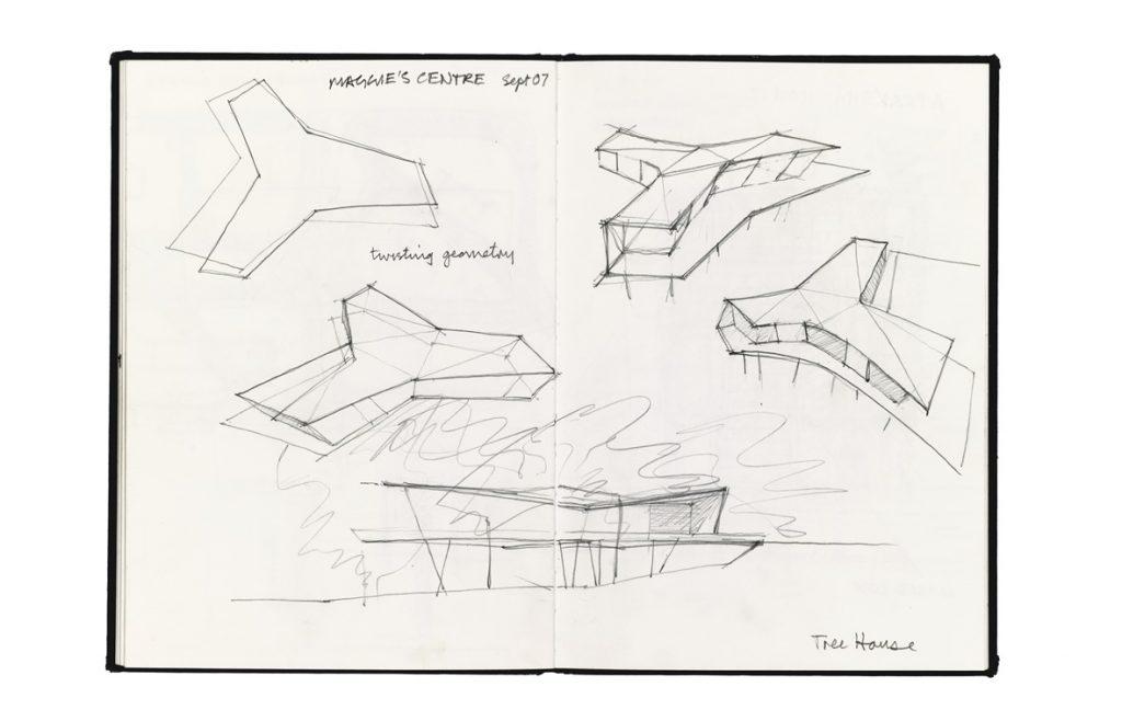 مگی سنتر در آکسفورد اسکیسهای اولیهی این پروژه در مفهوم خانهی درختی اکتشاف میکند. در ادامه کانسپت بنا با ترسیمات اتوکد، سیجیآی و یک تصویر آگزونومتریک گسترده ارائهشده است. هندسه پیچیدهی بنا با صفحات چندلایه چوبی مثلثی و شیبدار شکل ساختهشده است تا تداعیگر منظرهای جذاب و راز و رمزگونه در ساختمانی یک طبقه باشد. این طرح با استفاده از شیب سایت با این دید که مناظر آرام و زیبای طبیعت بر روی بیماران و یا افرادی که از اضطراب و نگرانی رنج میبرند تأثیر مثبت دارد، بازدیدکنندگان را از میان انبوهی از درختان به بالا هدایت میکند. عکسهای ساختمان تکمیلشده، نتایج فرایند طراحی را که با اسکیس آغازشده بود، نشان میدهد.