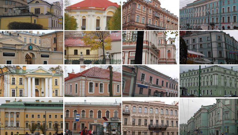 تصویر ۱: رنگهای استفاده شده در نمای شهری بافت تاریخی سن پترزبورگ که غالباً رنگهای گرم هستند، منبع: نگارنده