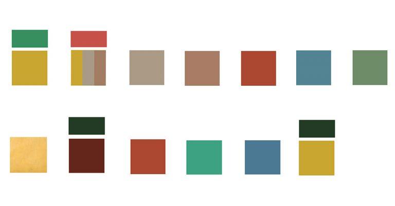 تصویر ۴: پالت رنگهای استفاده شده در بافت تاریخی (ردیف بالا) و بناهای یادمانی (ردیف پایین)، منبع: نگارنده