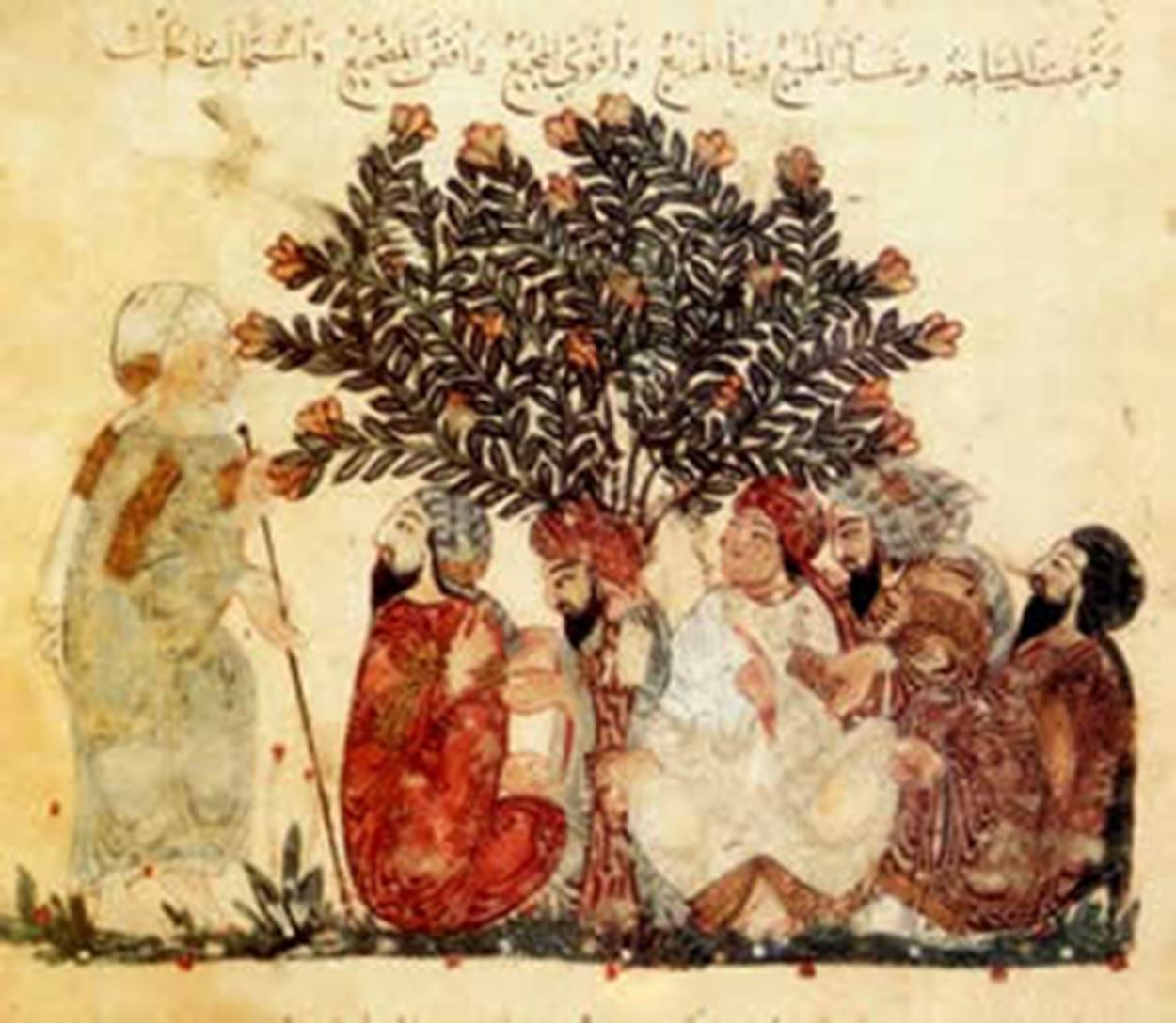 . رامشگران در زیر درخت، توجه به درختان و گیاهان در نسخ خطی مسلمانان.