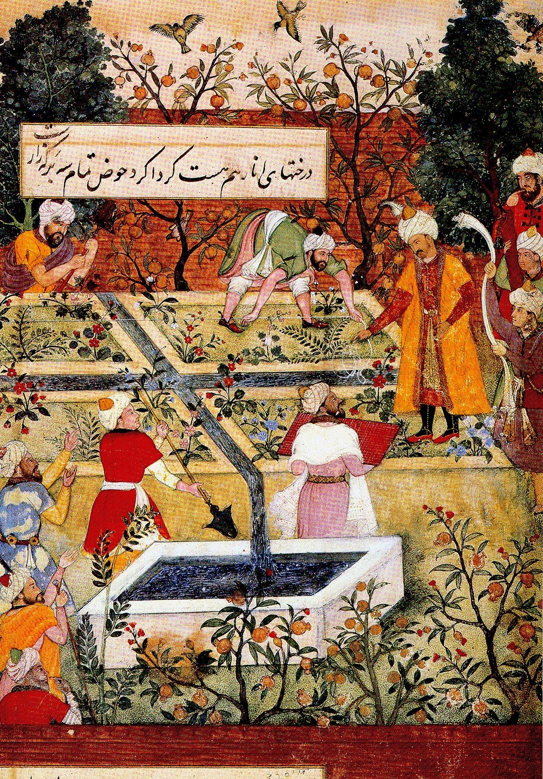 بابر شاه در حال نظارت بر اجرای باغ.
